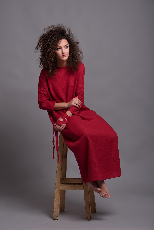 льняное платье кафтан DOR
