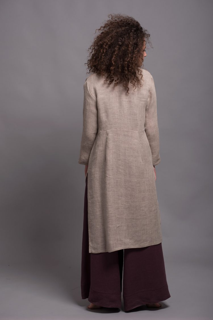 Natural Flax Jacket with Long Sleeves TOLLO