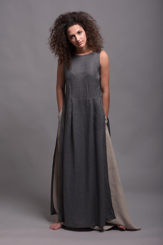 Linen Tunic Dress NERO