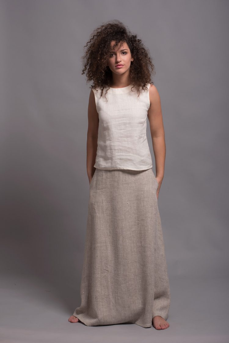 a-line long linen skirt AIRA