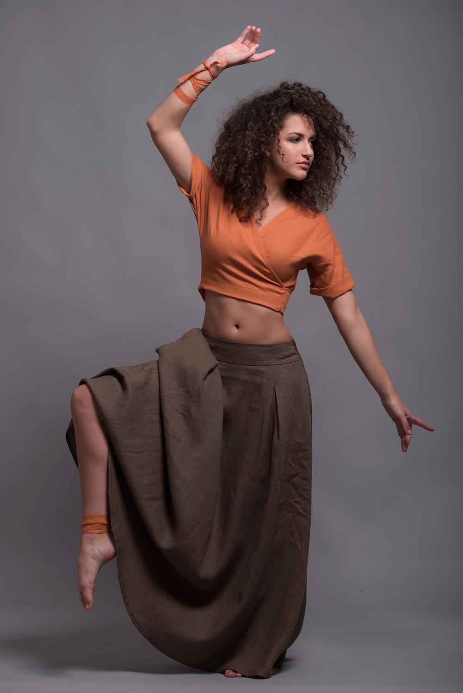 Летняя длинная юбка из льна INDI