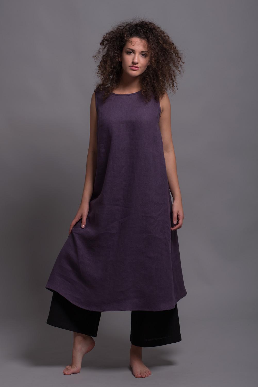 льняное платье свободного покроя UNA