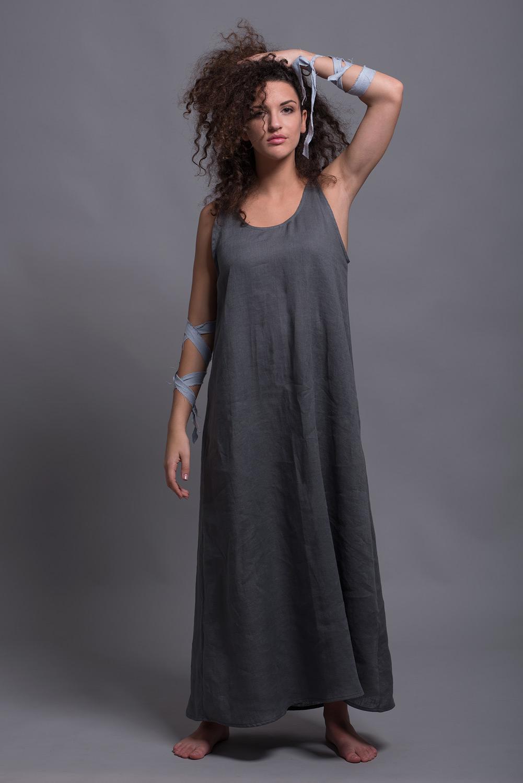 платье сарафан из тонкого льна OLA