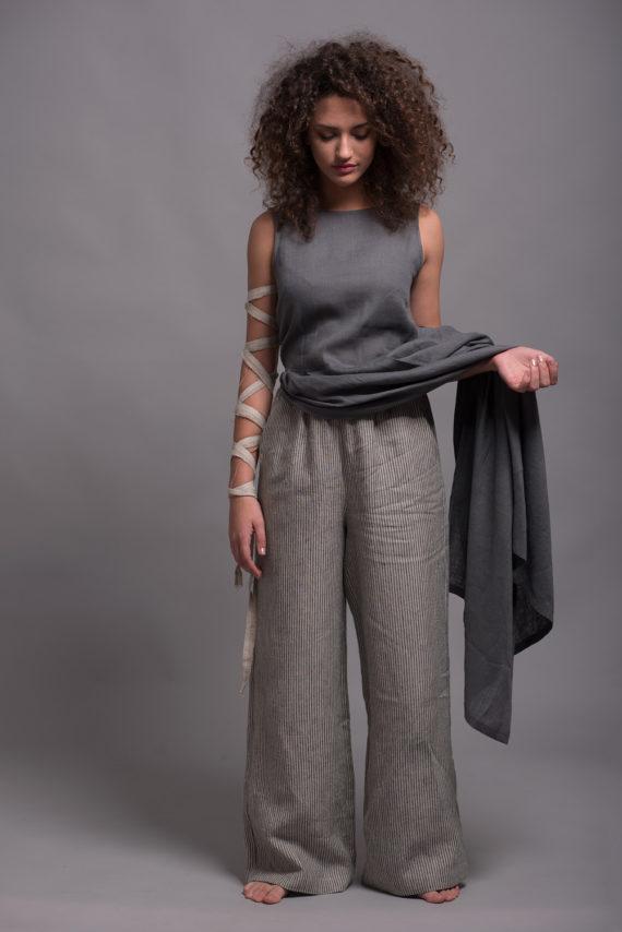Широкие льняные штаны BORA