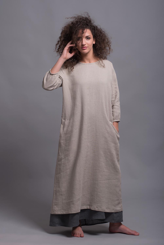Длинное льняное прямое платье с рукавами NIKA