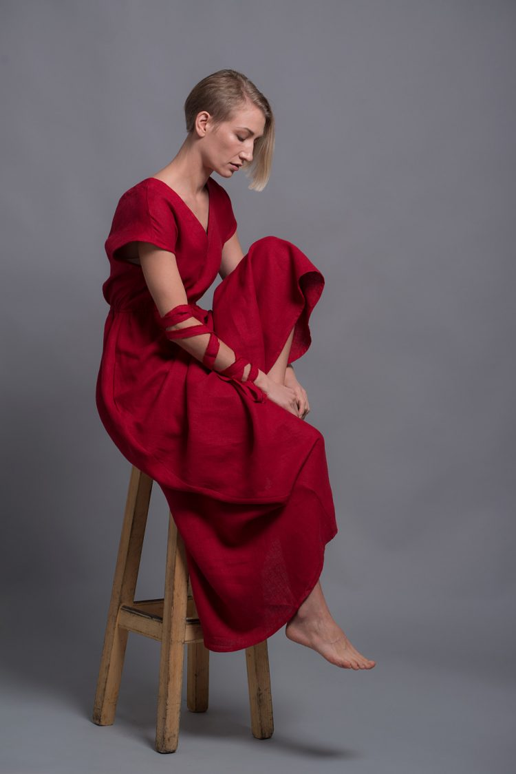 Red Linen Maxi Dress EVA