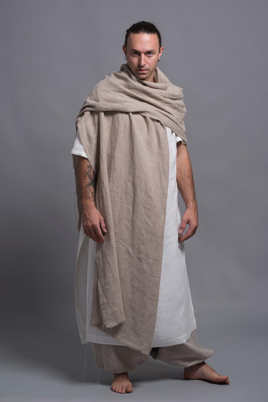 льняной шарф палантин для мужчины