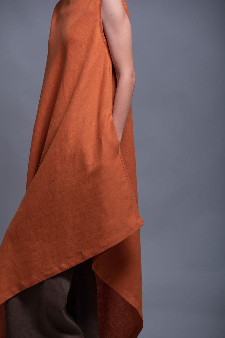Asymmetric Linen Tunic Dress YUCCA