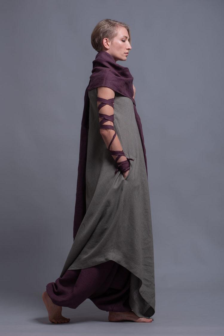 Maxi Linen Tunic Dress YUCCA