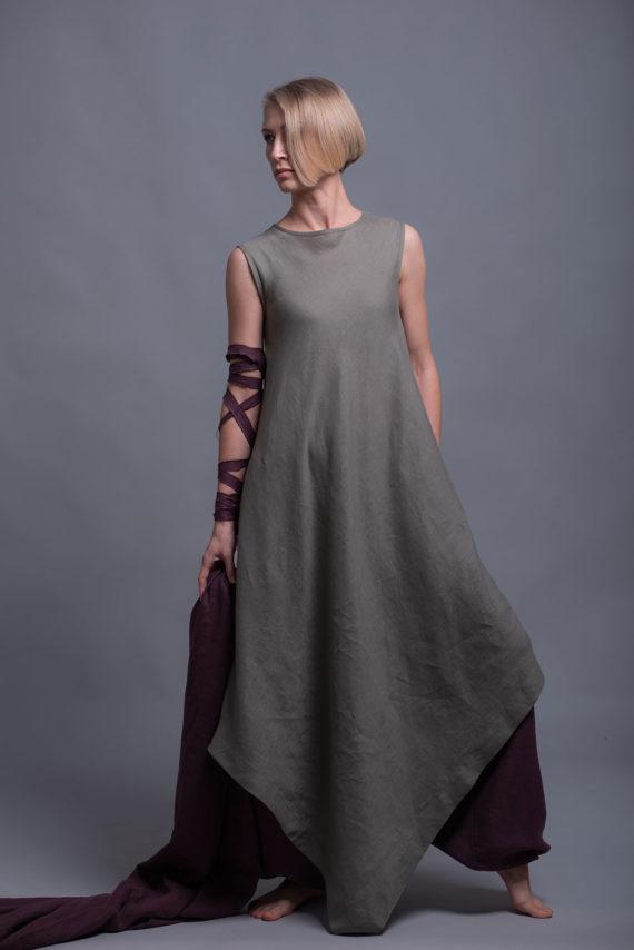 Maxi Flax Linen Tunic Dress YUCCA
