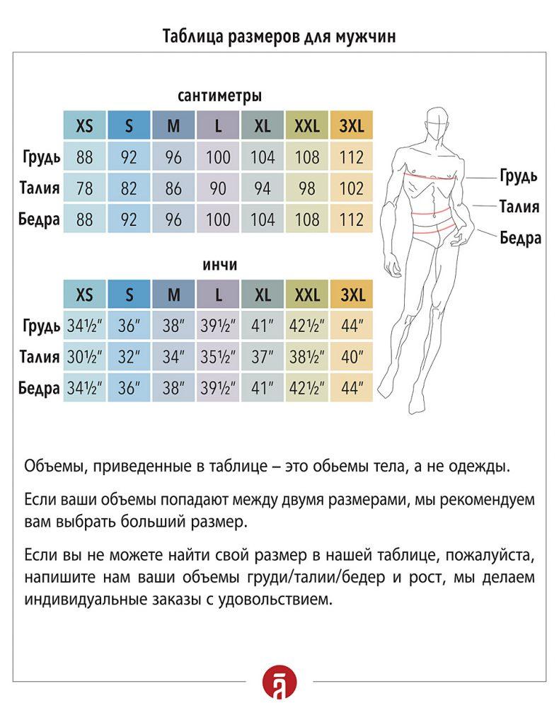 Таблица мужских размеров Shantima