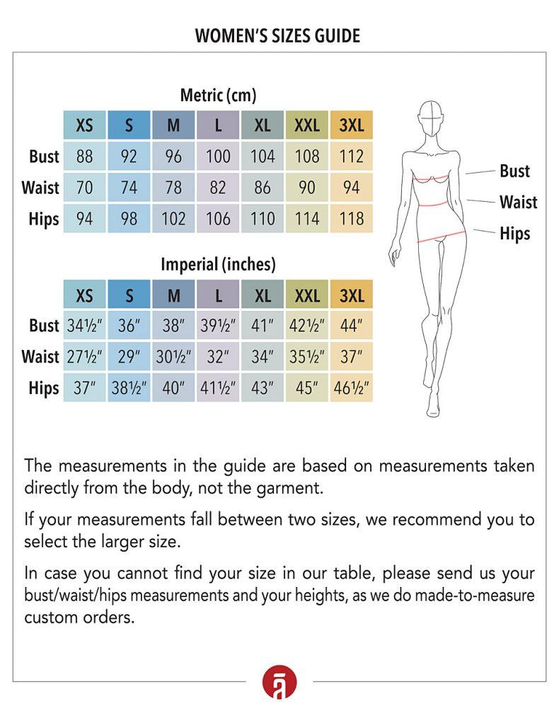 Women's Size Chart SHANTIMA