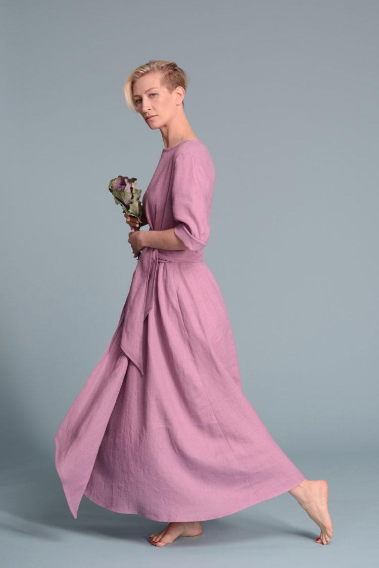 Длинное льняное платье с рукавами TANIA