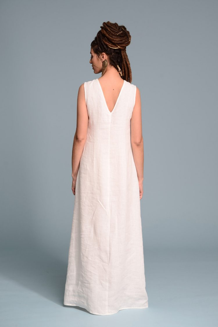 White Linen Tank Dress RAZ