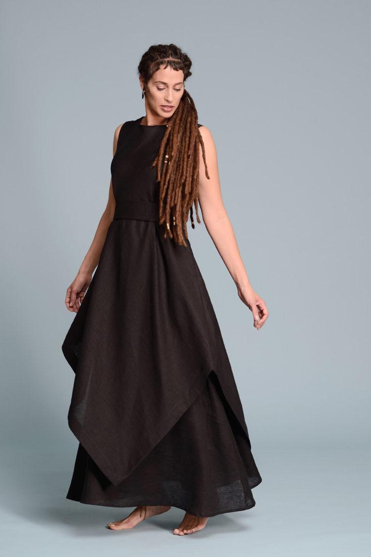 Двухслойное льняное платье EFRAT